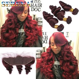 Loose wave red braziLian online shopping - Funmi Wine Red Virgin Hair Bundles j Cheap Human Hair Weaves inch Loose Wave Brazilian Hair Bundles With Closure Bundles With Frontal