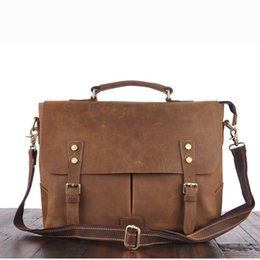 $enCountryForm.capitalKeyWord Canada - YISHEN Vintage Crazy Horse Genuine Leather Men Briefcase Large Capacity Laptop Case Men Handbags Business Messenger Bags MS3849