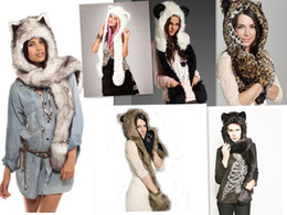 Hats Scarves Canada - factory Wholesale-2018 Warm Leopard Animal Fur Hat Scarf Fluffy Plush Cap Ear Hood Shawl Glove Unix