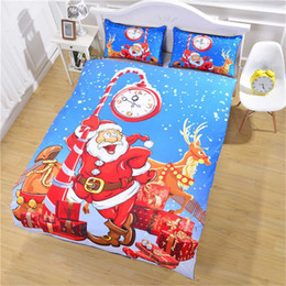 $enCountryForm.capitalKeyWord NZ - Christmas Duvet Cover Printed Xmas Gift red blue snow Santa Claus alarm clock Bedding Set USA AU Twin Full Queen King size 3pcs