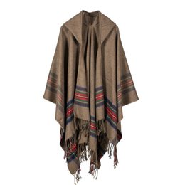 $enCountryForm.capitalKeyWord UK - European Ma'am Thickening Colour Bar Imitate Cashmere Jacquard Weave Shawl Sure Wear Keep Warm Lengthen Fashion Bring Hat Cloak 130*150CM