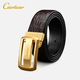 crocodile leather belts NZ - Ciartuar Men Crocodile Pattern Genuine Leather Belt First Layer Cowhide Smooth Buckle Belts For Male Cowskin Strap