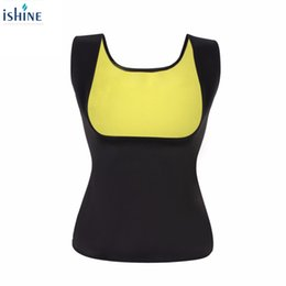 Discount shapers neoprene - 2017 Women neoprene U neck body shapers Waist Slim Sportwear Vest Underbust Plus size M-XXL Running Jogging Yoga Top Fit