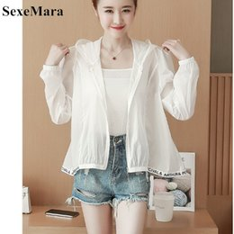 korean long summer jackets 2020 - SexeMara New 2018 Summer Sunscreen Female Long-sleeved butterfly pattern Korean version of the thin section wild jacket