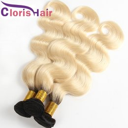hair human ombre blond 2019 - Dark Roots Blonde Ombre Weave Body Wave Raw Indian Virgin Human Hair Extensions Colored Two Tone 1b 613 Blond Ombre Weft