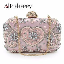fb6f5816e0 Design Evening Bag Handmade Emerald Gold Pink Heart Crystal Luxury Clutch  Bag Diamond Ladies Handbags Party Wedding Purse