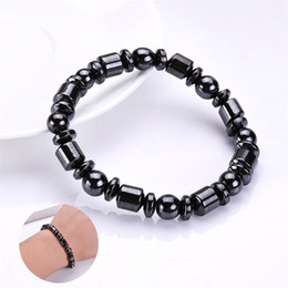 Magnetic hand chain online shopping - Men Biomagnetic Wristband Natural Stone Black Magnetic Bracelet Health Weight Loss Elastic force Hand Chain hot sale zy WW