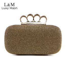$enCountryForm.capitalKeyWord Australia - Luxury Woman Evening Bag Shinny Glitter Ring Clutch Wedding Party Purse Banquet Shoulder Hand Bag Small Clip bolso Gold XA231H