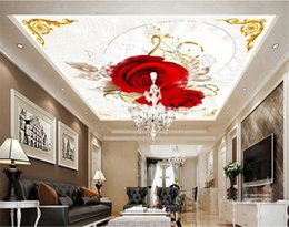 Discount Roses Wallpaper Home Decor Murales De Pared Rose Flower Ceiling  Mural For Living Room 3