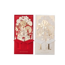 castle wedding invitation cards UK - Customized 3D Wedding Invitations Party Supplies Bride and Groom Castle Laser Cutting Invitation Cards