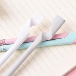 Korean School Stationery Australia - 2Pcs lot 0.5mm Cute Kawaii Couple Black Ink Gel Pen Office School Supply Korean Stationery For Students Kids Writing