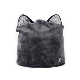Sun hat holidayS online shopping - Diamond Insert Skull Caps Holiday Travel Head Hats Cat Ear Outdoor Keep Warm Cap Foldable Lightweight Creative Women Kids hf jj