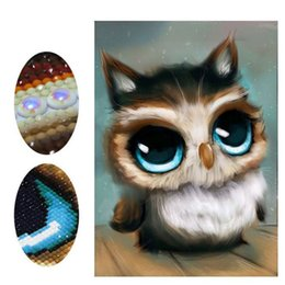 Discount cute owl paintings - Fashion DIY Diamond Painting Cute Owl Special Shaped Diamond Embroidery Cross Stitch Bead Picture Wall Painting Home Dec