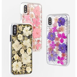 Nature Iphone Australia - for iPhone Xs Max XR XS X Bling Glitter Foil Cover Nature Real Petal Flower Shell Case