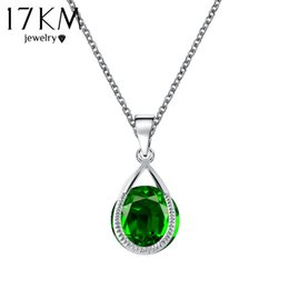Discount austrian crystal water drop necklace - 17KM Valentine's Gift Austrian Crystal Water Drop Necklaces & Pendants Gold Color Silver Color collares Maxi Neckla