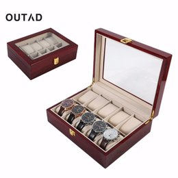 Wooden Display Cases Australia - Luxury 10 Grids Solid Wooden Watch Box Case Jewelry Watch Display Collection Storage Case Red caixa para relogio saat kutusu