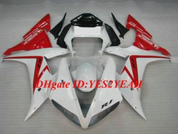 Discount fairing r1 white red Exclusive Motorcycle Fairing kit for YAMAHA YZFR1 02 03 YZF R1 2002 2003 YZF1000 ABS Plastic Red white Fairings set+Gifts YE15