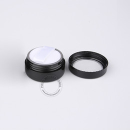 plastic jars 5ml 2018 - Wholesale 100pcs lot 5g Empty Plastic Powder Jar With Sifter + Soft Puff, 5ml Refillable Black Cosmetic Bottle Packaging