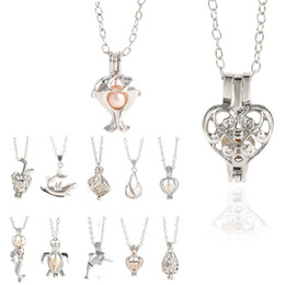 pearl cage pendant wholesalers NZ - 12 Style Oyster pearl Pendant Necklaces Unicorn Cages Locket Hollow Out Love Wish Pearl Necklace Rose Flower Mermaid DIY jewelry
