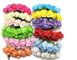 Chinese  Wholesale 1-1.5cm head Multicolor Mulberry Paper Flower Bouquet wire stem scrapbooking artificial rose flowers for candy box manufacturers