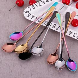 10pcs / cuillère en acier inoxydable avec long manche cuillère à glace cuillère à café thé maison cuisine vaisselle cuillères taille 19,5 cm # 260599