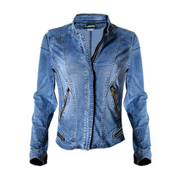 Wholesale 2017 Dreamskull New Stand Collar Women Baseball Jackets Stretch Denim Jacket Multi zipper Short Motor Style Chaqueta Female Coat