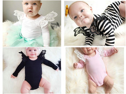 $enCountryForm.capitalKeyWord Canada - 4 Colors Baby Girls Boys Solid Lace Fly Sleeve Rompers Infant Toddler Long Sleeve Cotton bodysuit Kids Jumpsuits one piece for parties Cloth