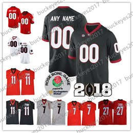 Custom Georgia Bulldogs Any Name Number 2018 Rose Bowl Red Black Stitched   11 Jake Fromm 7 Stafford 27 Chubb NCAA College Football Jerseys 338448142