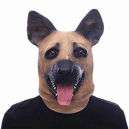 animal dog masquerade masks eco friendly latex wolfhound head full face mask for halloween fancy dress festival gift 30mr yb