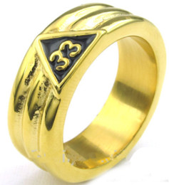 Mason ring stainless online shopping - Gold Plated Scottish Rite rd Degree Grooved Band Stainless Steel Freemason Ring Masonic Ring Freemason s Jewelry for Free Masons
