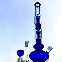 $enCountryForm.capitalKeyWord Australia - Green Blue Tall Bong Waterpipe With Double Layer Tree Perc Straight Tube Glass Bongs Smoking Water Pipes With 18mm Bowl Piece GB1218