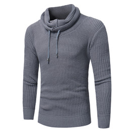 Chinese  New men's fashion pure color hat rope heap collar collar head sweater knitted sweater men sweaters men clothes 2018 manufacturers