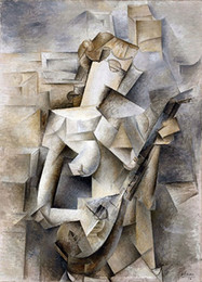 Famous Canvas Prints Australia - Pablo Picasso Girl with a Mandolin Handpainted & HD Print Famous Abstract Art Oil Painting on Canvas office culture High Quality p339