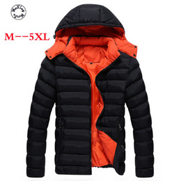 Solid Cotton Shawl Australia - Woxingwosu hooded parkas thickened pure casual down, cotton coat young man, big size casual cotton jacket M to 4XL 5XL
