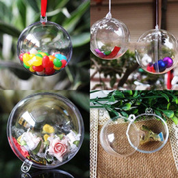 clear plastic ball ornaments wholesale Australia - 20Pcs 10 Pairs Christmas Tress Hanging Decorations Ball Transparent Open Plastic Clear Ornament Kids Favors Party Supplies