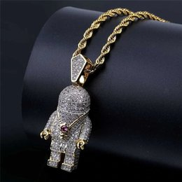 $enCountryForm.capitalKeyWord NZ - Hip Hop Jewelry Zircon Astronaut Iced Out Cool Mens Pendant Necklace Gold Chain For Men Fashion Necklace