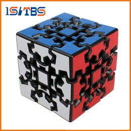 3d gear cube NZ - Wholesale 3D Cube Puzzle Magic Cube 3 x 3 x 3 Gears Rotate Puzzle Sticker Adults Child's Educational Toy Cube DHL free shipping