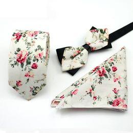 Discount matching ties set - Ikepeibao Ivory Cotton Floral Paisley Ties with Matching Bowtie Hanky for Men Wedding Tie Slim Gravatas Corbatas Casual