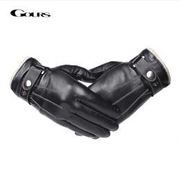 $enCountryForm.capitalKeyWord Australia - Gours Men's Genuine Leather Gloves Fashion Black Touch Screen Sheepskin Finger Gloves with Wool Lining Warm In Winter New GSM053 C18111501
