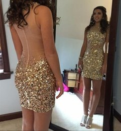 $enCountryForm.capitalKeyWord NZ - Gold Champagne Short Prom Dresses Bling Bling Crysatl Beading Cocktail Dress Mini Length Girls Party Pageant Gowns