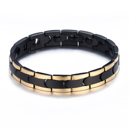 medical alert jewelry NZ - 2018 New Black Stainless Steel Energy Balance Health Care Jewelry Germanium Magnetic Therapy Healthy Medical Alert ID Bracelet for Men