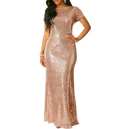 Padded Flooring Canada - Women's Sexy Stretch Silver Sequins Maxi Dress Floor Length Party Dress Padded V Neck Backless Mermaid Dress Short Sleeve Maxi Evening