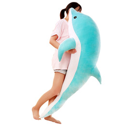 Dolphin Toys Stuffing NZ - Dorimytrader New Soft Sea Animal Dolphin Plush Pillow Giant Stuffed Cartoon Dolphin Shark Toy Doll for Kids Adults Gift 140cm 160cm DY50447