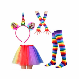 rainbow leggings UK - Wholesale Kids Rainbow Party kids designer clothes girls Dance with Unicorn Horn Headband leggings gloves baby girl designer clothes BY0145