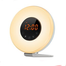 China Wake Up Light with Sunrise Sunset Simulation [2018 UPGRADED] 6 Natural Sounds FM Clock Radio 10 Brightness Levels 7 Colors Night Light Snooz cheap round level suppliers