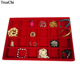 black velvet display case Canada - New Big Size 24 Grids Jewelry Tray Red Velvet Pendant Earring Bracelet Display Box Black Jewelry Ring Storage Organizer Case 35*25*3cm