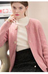 Neue elegante Kuh Yak Haar Strickjacke Frauen 2018 Mode Perle Knopf Langarm Strickjacke Strickjacke warme Pullover