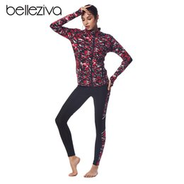 Polyester Jogging Suits NZ - Belleziva Women Zip Up Coat 2 Piece Jogging Track Skinny Sport Suit Fitness Running Sets Female Outdoor Wear Workout Tracksuits