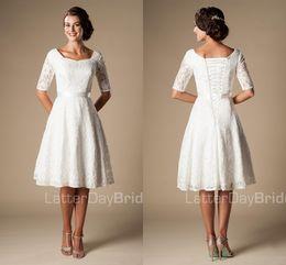 $enCountryForm.capitalKeyWord NZ - Short Wedding Dresses with Sleeves 2018 Modest Vintage 1920s' Lace Knee-length Outdoor Reception Informal Bridal Wedding Dress Budget Cheap