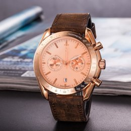 Wholesale Luxury Mens Leather Watch Stainless Steel Watch Quartz Chronograph Rose Gold Male s Wristwatch